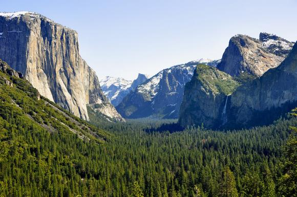 View of Yosemite Valley with Half Dome and El Capitan. Photo from Creative Commons.