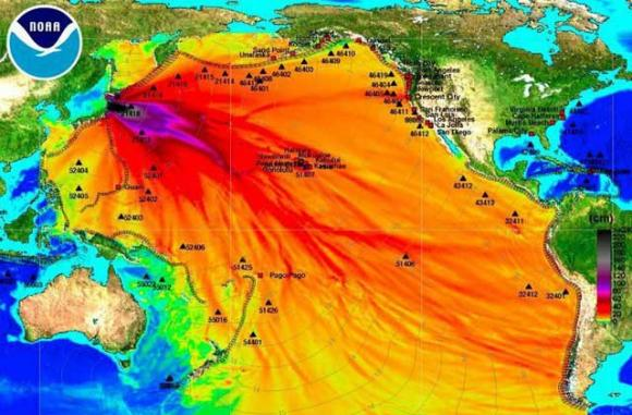 This image is being shared widely as evidence that dangerous levels of radiation from Fukushima have arrived on the West Coast. The map actually shows wave dispersal from the tsunami that  was partly responsible for the nuclear plant's breakdown.