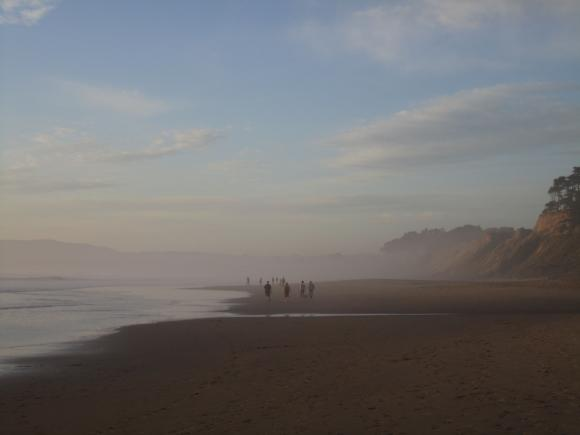 Wisps of evening fog settle over the sand at Manresa State Beach. Hilltromper photo.