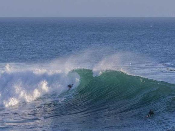 Ryan Masters bodysurfing Steamer Lane. Photo by Priz.