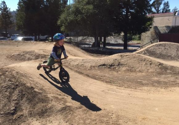 Tomek Smuga-Otto works a line at the newly opened Scotts Valley pump track. Photo by Maciej Smuga-Otto.