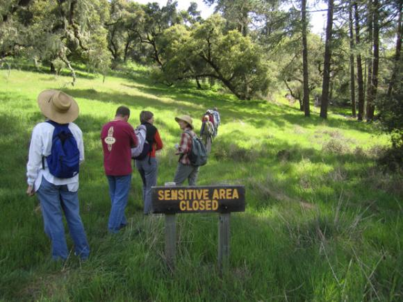 Quail Hollow hikers entering a 'forbidden area' zone. Photo by Hilltromper.