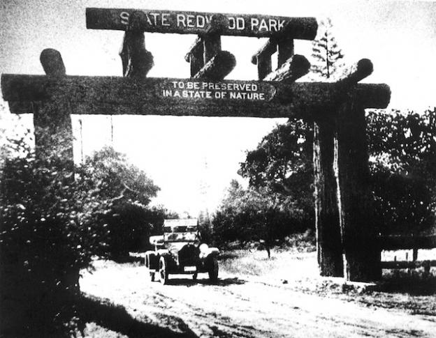 The entrance to Big Basin, ca. 1920. Photo courtesy Sempervirens Fund.