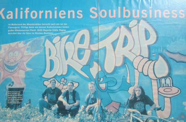 A German magazine was very taken with the Bicycle Trip mural, and its company philosophy.