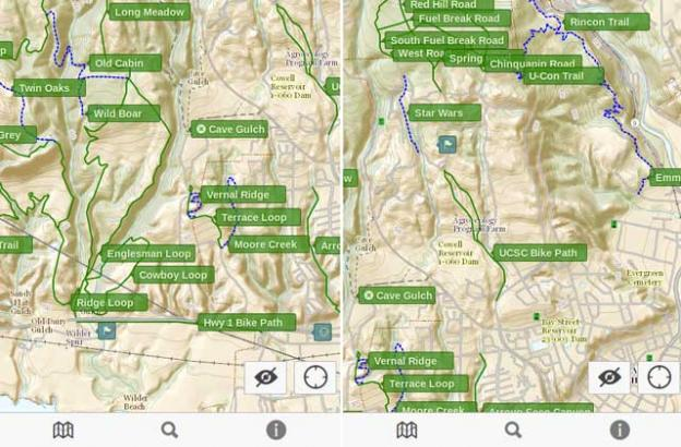 Screenshots of GraniteMaps Wilder Ranch app show how clean a carefully curated map can be.