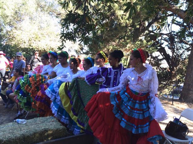 Dancers prepare to go on at the 2015 Mole & Mariachi Fest. Hilltromper photo.