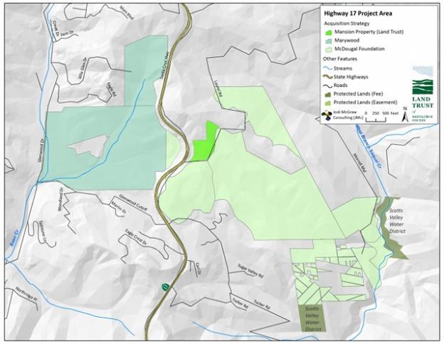 Wildlife crossing acquisition map courtesy Land Trust of Santa Cruz County.