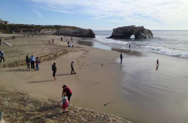 Natural Bridges State Beach, on the northwestern edge of Santa Cruz, features tidepools, a monarch butterfly grove, and lots of happy beachgoers.
