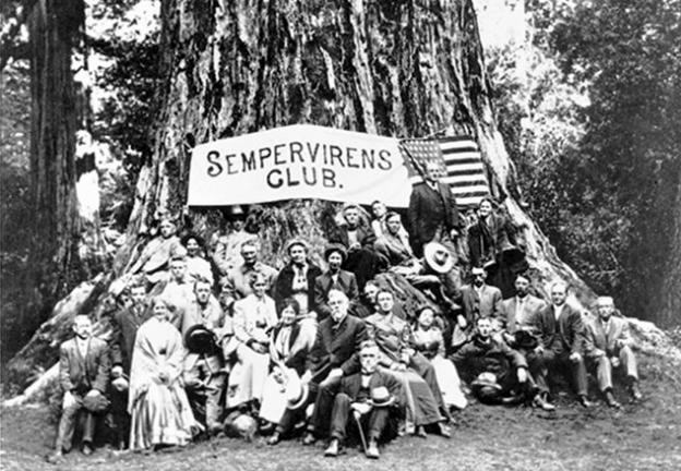 In 1900, what was then called the Sempervirens Club rallied around preservation of the old-growth trees of Big Basin. Photo credit: Sempervirens Fund.