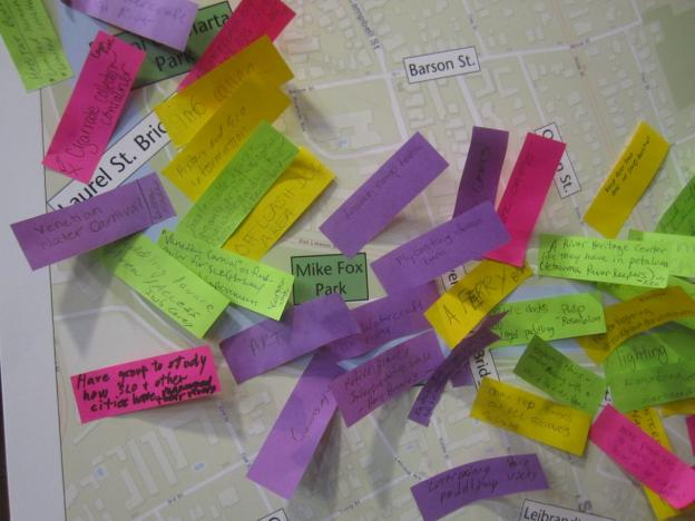 Sticky notes on a poster depicting the Estuarine Reach of the river at the March 5 San Lorenzo River Community Forum. Similar meetings follow on March 24 and May 12.