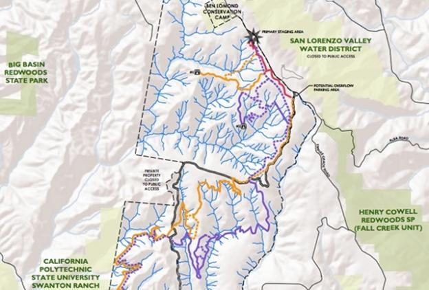 The Land Trust is accepting comments on the draft SVR access plan through Oct 10. Email access@landtrustsantacruz.org. Map courtesy Land Trust of Santa Cruz County.