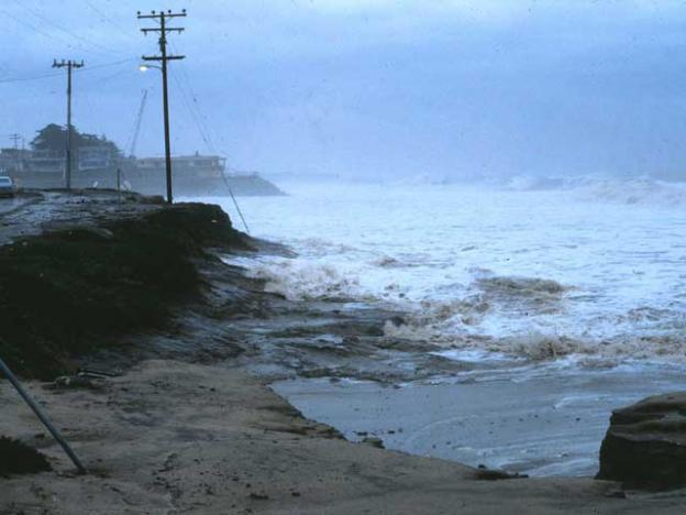 During the 1983 El Niño winter, Twin Lakes State Beach lost over 10 feet of sand, as shown above. Gary Griggs photo.