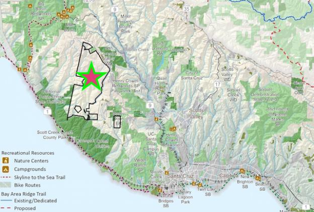 San Vicente Redwoods (outlined). Map of Santa Cruz County open spaces courtesy Land Trust.