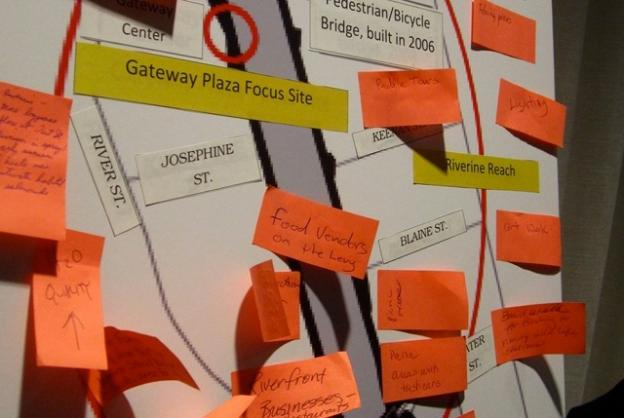 Suggestions for the river at the Jan. 7 launch of the San Lorenzo River Alliance. Hilltromper photo.