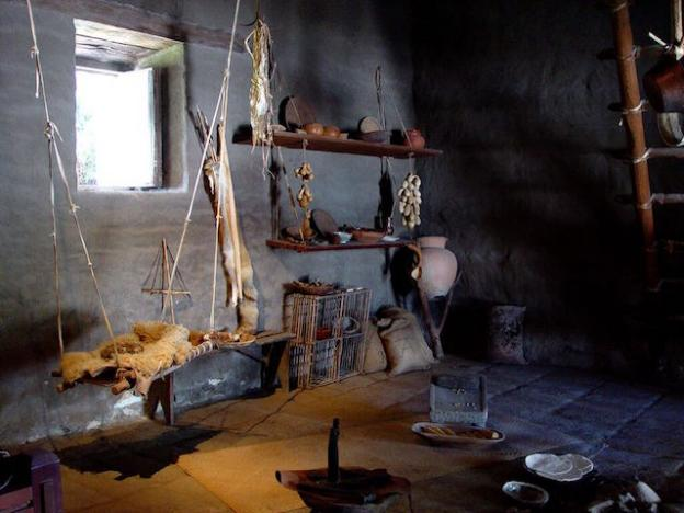 Native American pottery and implements on exhibit in the adobe. Friends of SC State Parks photo.