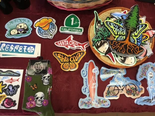 Tim Ward's recognizable Santa Cruz designs now come on pins and keychains. Photo courtesy Miller Maxfield.