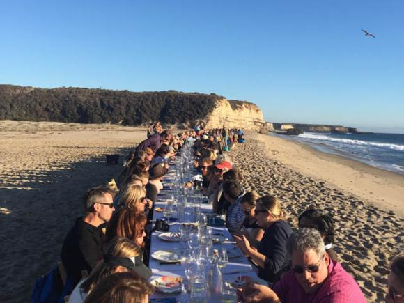 Around 140 people, from Boston to Austin, came to Red, White and Blue Beach on a warm Saturday in November to eat a locally produced meal.