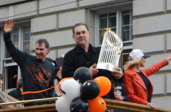 Giants manager Bruce Bochy with the World Series trophy