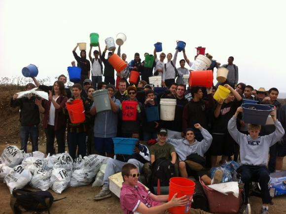 The Panther Beach cleanup crew with Patrick Adams. Photo courtesy Save Our Shores.