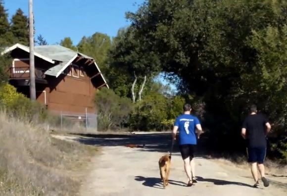 Josh Stiles of Shamma Sandals, left, and his buddy Brice running at Pogonip in minimalist sandals.