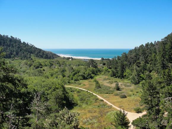Skyline to the Sea Trail overlooking Waddell Beach. Hilltromper photo.