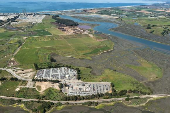 Aerial view showing the Pick-n-Pull's proximity to Elkhorn Slough. Photo by Joel Avila/Hawkeye Aerial Photography.