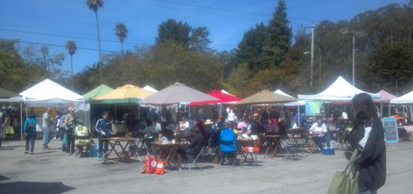 A few of the many pop-up tents at the Scotts Valley Farmers Market. Hilltromper Photo.
