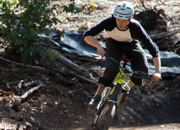 Trailbuilder Matt De Young takes a corner on his baby. The Flow Trail was completed in March 2015. Bruce Dorman photo.
